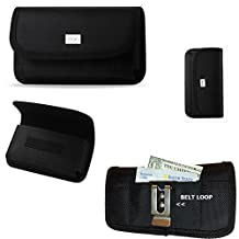 Horizontal Canvas Wallet and Credit Card Case with Velcro closure, belt clip and belt loop fits Motorola Moto G (Second Generation only, released late 2014) with an Otterbox Defender Case on it.. Perfect for Motorcycle Riders.