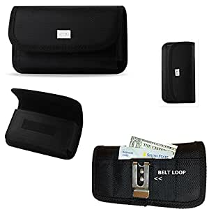Horizontal Canvas Wallet and Credit Card Case with Velcro closure, belt clip and belt loop for Blackberry Priv. Perfect for Motorcycle Riders.