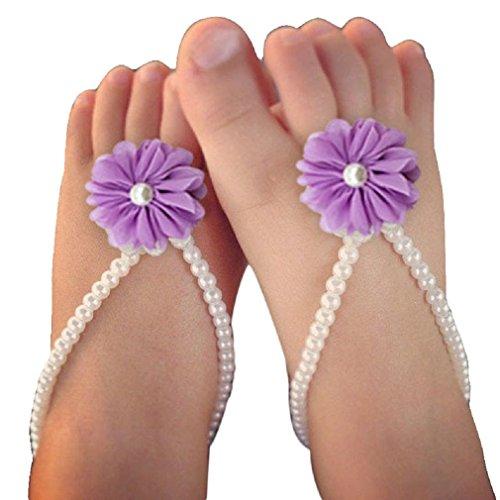 Koly 1 Par Infantil Flor pies sandalias de playa (Amarillo) Púrpura