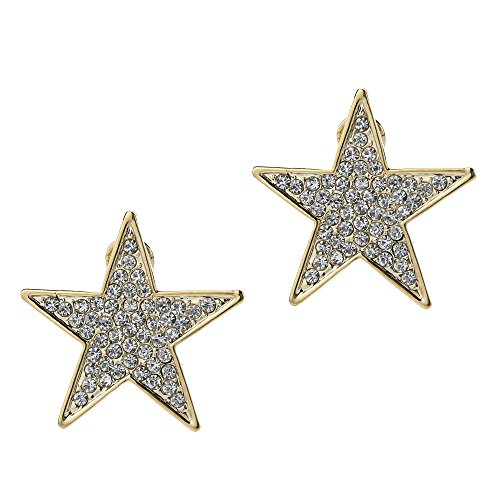 (DUOKA Fashion White Crystal Gold Five-pointed Stars Earring Stud-Big Size:1.45inch )