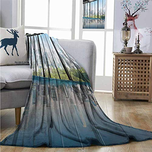 Homrkey Super Soft Lightweight Blanket Modern Metropolitan Cityscape of New York USA in Central Park Forest Photograph Blanket as Bedspread W70 xL84 Sky Blue and Green