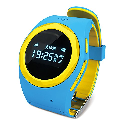 Ameter G1 GPS Tracker Kids Smartwatch, 2G Network Only Anti-lost SOS GPS Navigation Social Children Watch Phone Blue