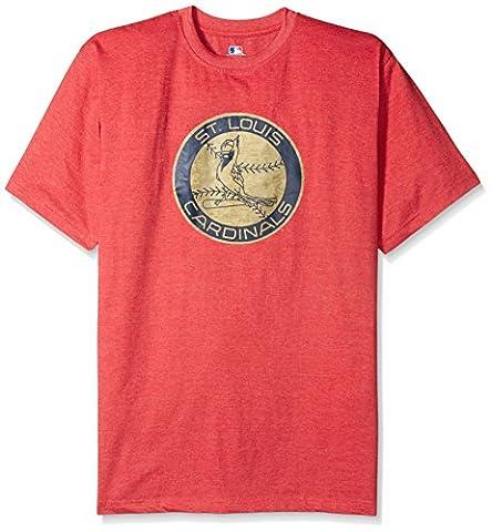 MLB St. Louis Cardinals Men's Short Sleeved Graphic T-Shirt, X-Large/Tall, Red Heather - Louis Cardinals Fiber