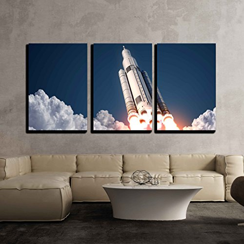 Wall Art Rocket (wall26 - 3 Piece Canvas Wall Art - Space Launch System Takes Off. 3d Scene. - Modern Home Decor Stretched and Framed Ready to Hang - 16
