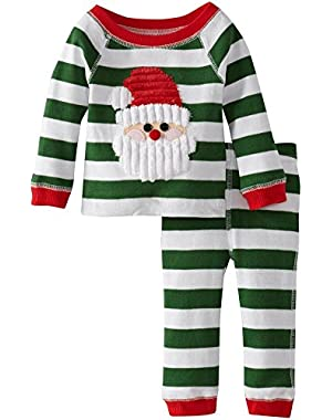 Green Stripes Santa Lounge Set Mud Pie Infant Christmas Pajamas 9-12 months