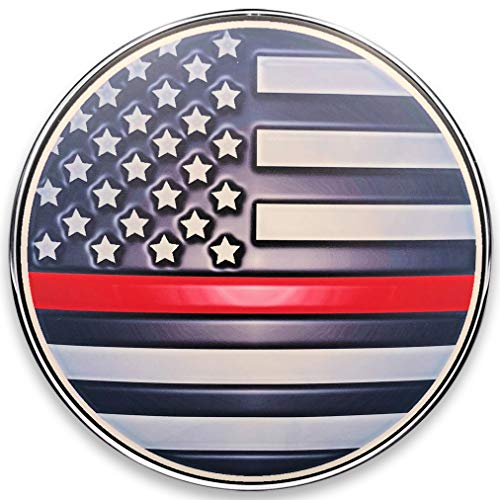 Standard Derby Cover with Interchangeable Full Color Steel Faceplate for Dyna (99-2017), Softail (99-2018 Except FLSB), and Harley Davidson Touring Models (99-2015) - Thin Red Line Flag (Chrome)