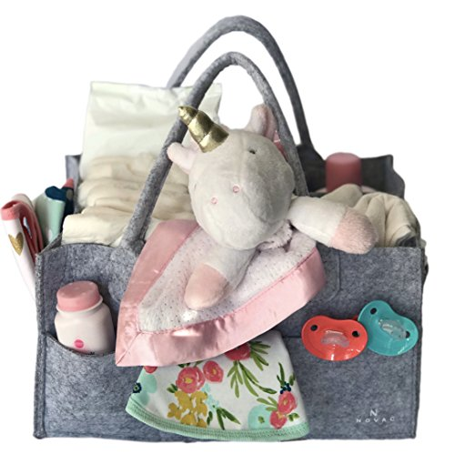 Baby Diaper Caddy Organizer, Nursery And Changing Table Storage Bin, Portable Car and Home Basket With Handles and Multiple Compartments - Great For Toys, Diapers, Baby Wipes, and Baby Essentials