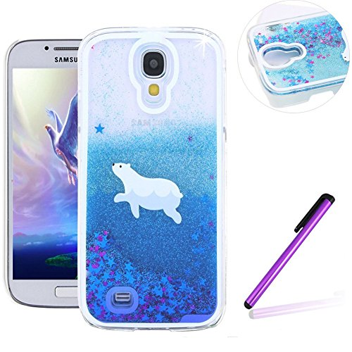 Galaxy S4 Case,Samsung S4 Case,EMAXELER 3D Creative Angel Girl Flowing Liquid Floating Bling Shiny Liquid Polycarbonate Hard Case for Samsung Galaxy S4+Stylus Pen,Polar Bear--Blue Liquid