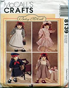 """McCall's Sewing Pattern 8139 Doll Clothes for 18"""" Doll Betsy McCall Designs"""