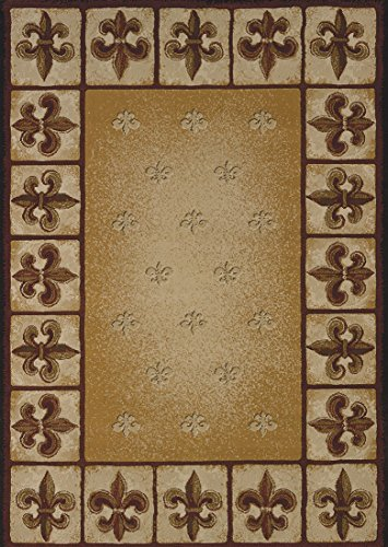 United Weavers Wood Rug - United Weavers Polypropylene Area Rugs United Weavers China Garden Fleur De Lis Area Rug 1'11 X 7'2 Inches Style # 550-33697-Linen-28