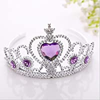 Sofia Costume Crown Tiara Snowflake Princess Dress Up/Hair Accessories Snow and ice Queen Colors pet Hair Clips Crown Princess Shiny Side clamp Easter Present (Purple Stoned)