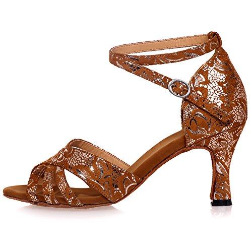 Strap Peep Salsa Criss Shoes Dance Brown Cross LOSLANDIFEN Sandals b Latin Tango Toe Womens q6y85pwT0x