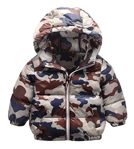 (AIEOE Kids Warm Coat Hooded Bubble Jacket Zipper Elastic Cuff Outwear with Pocket 12M)