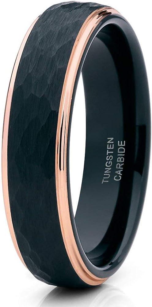 6mm Black Tungsten Wedding Ring Gold Wedd Rose Fashionable Popular products 18k