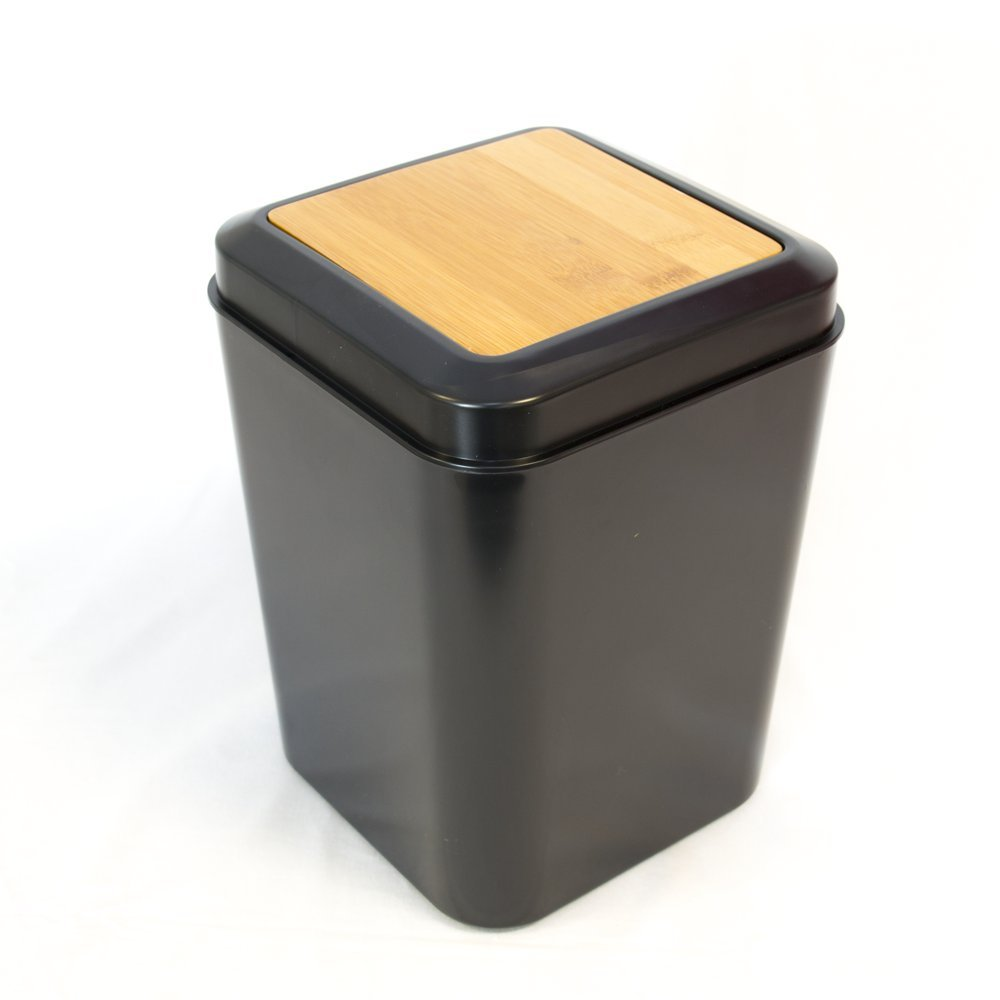 EVIDECO Collection Phuket Square Trash Can-Top Swing Lid Black-Bamboo 5-Liters/1.3-Gal Bathroom Accessories Set 7-Pieces, 9.8'' H x 7'' L x 7'' W, Black,Brown