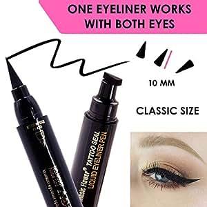 Black Liquid Eyeliner, Cat Eye Stamp eyeliner, Eye Liner Stamp Perfect Wings, Wingliner Waterproof Makeup-quick flick vampstamp eyeliner style -2 Headed w. felt tip;No stencil Cat Eye