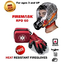 Emergency Escape Mask & Heat Resistant FIREGLOVES- Firemask -- URBAN SURVIVAL / FIRE / CHEMICAL / DUST / BIOLOGICALS Emergency Escape Hood Oxygen Mask Smoke Mask Respirator