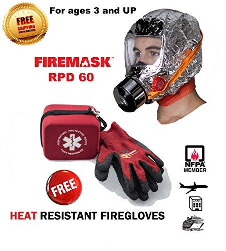 FIREMASK Emergency Escape Mask & Heat Resistant FIREGLOVES- 5 year shelf life