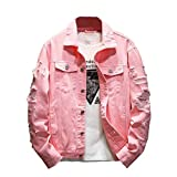 Comaba Men Single-Breasted Hip-hop Ripped Distressed Lapel Collar Denim Jackets Pink 4XL