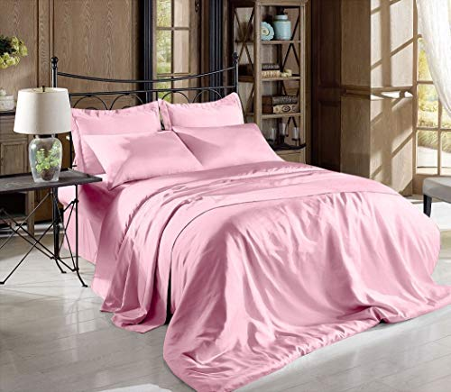 Hight Thread Count Solid Color Soft Silky Charmeuse Satin Luxury and Super Soft Bed Sheet Set (Pink, California King)