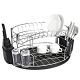 Addmirre Rust Resistant Modern 2 Tire Stainless Steel Drainer Dish Drying Rack, Arc design