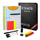 QPKUNG Magnetic Tactic Coach ClipBoard -for Soccer Basketball - with Tactics cards, Football coin, Whistle, Warning cards, Scorebook,Erasable marker pens, Marker pen and Carry bag