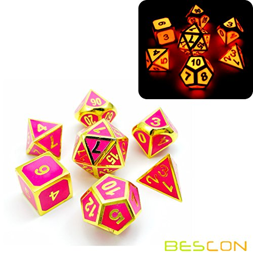 - Bescon Super Glow in the Dark Metal Polyhedral Dice Set Golden and Rose, Luminous Metallic RPG Role Playing Game Dice 7pcs Set