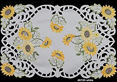 """Creative Linens 4PCS Embroidered Cutwork Sunflower Placemats 11x17"""" White, Set of 4 Pieces"""