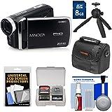 Minolta MN50HD 1080p HD Video Camera Camcorder (Black) 8GB Card + Case + Tripod + Kit