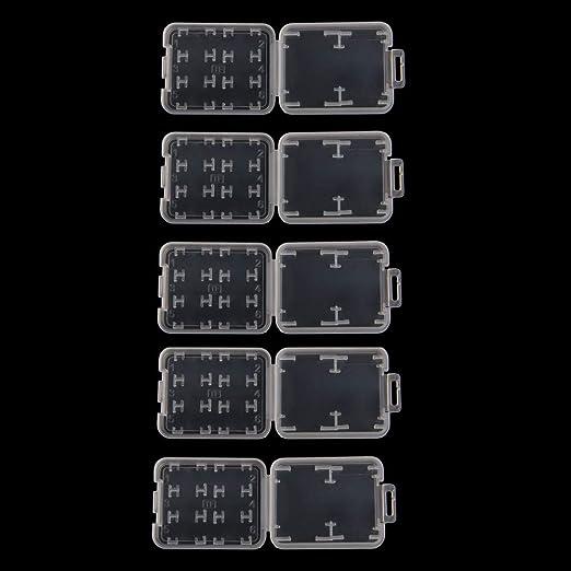 BIlinli 10 UNIDS Plástico Transparente Estándar SD SDHC Caja de ...