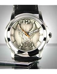 Harley-Davidson® Bulova® Mens Watch. Raise pewter dial. 76A12