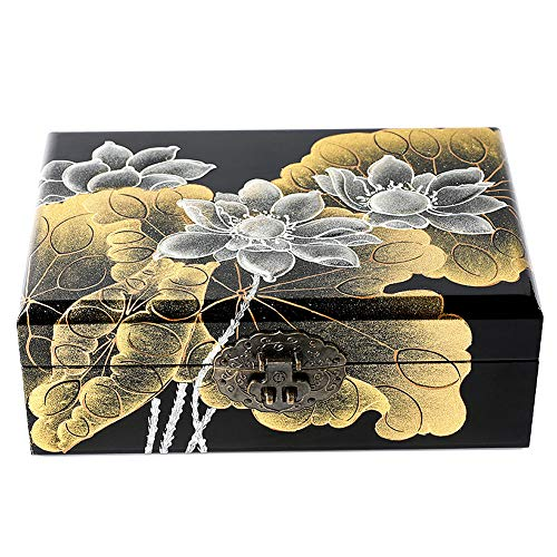 Hand Painted Wood Jewelry - Dear life Lotus Hand-Painted Wooden Push Light Lacquer Jewelry BoxLacquer Wood JewelryStorage Organizer