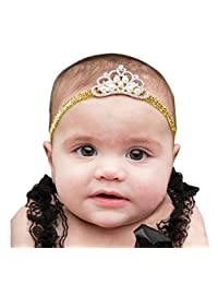 Tenworld Baby Girl Crown hair band Princess Crystal Pearl Headband