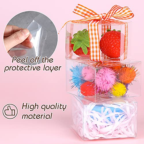 VGoodall Clear Favor Boxes, 100 pcs Plastic Gift Boxes Transparent Cube Boxes PET Boxes for Wedding, Party, Baby Shower, Bridal Shower