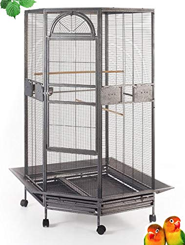 "64"" Large Corner Flight Bird Parrot Cage for Cockatiel Parakeet Budgies Parrot with Around Metal Seed Skirts, Tight 1/2-Inch Bar Spacing (BlackVein)"