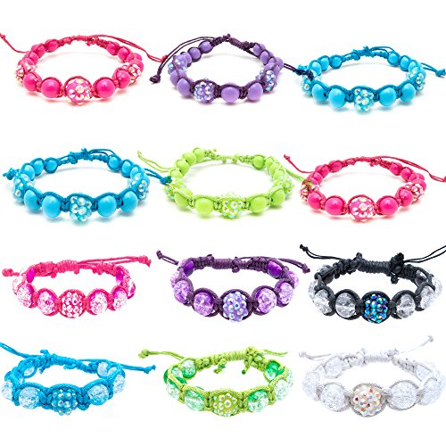 FROG SAC 12 PCs Macrame Bracelets for Women Girls Teens - Stretch Beaded Bracelet Set with Rhinestone and Glitter Beads - Himalayan Inspired Braid Design - Adjustable - Great Gifts ()