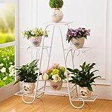LIZX Metal Plant Flower Rack, Indoor Flower Pot Rack, European-style Garden Balcony Display Stand Size Color Optional ( Color : White , Size : 69.564.5cm )