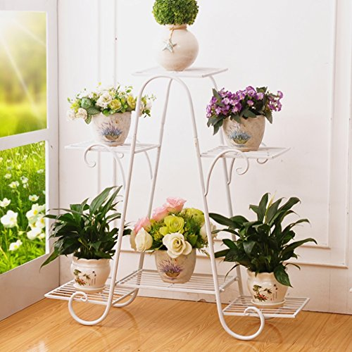LIZX Metal Plant Flower Rack, Indoor Flower Pot Rack, European-style Garden Balcony Display Stand Size Color Optional ( Color : White , Size : 69.564.5cm ) by Flower Pot Stand