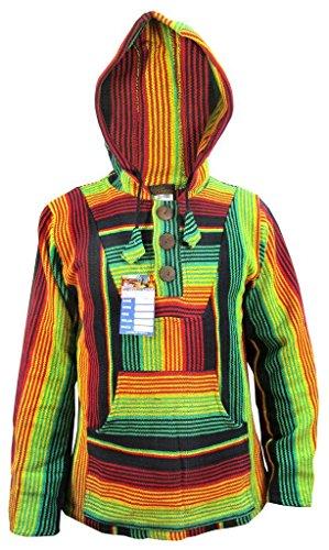 algodón de rayas multicolor Baja Sudadera estilo Rasta con a Little diseño capucha Kathhmandu étnico xRwZTUqBw6