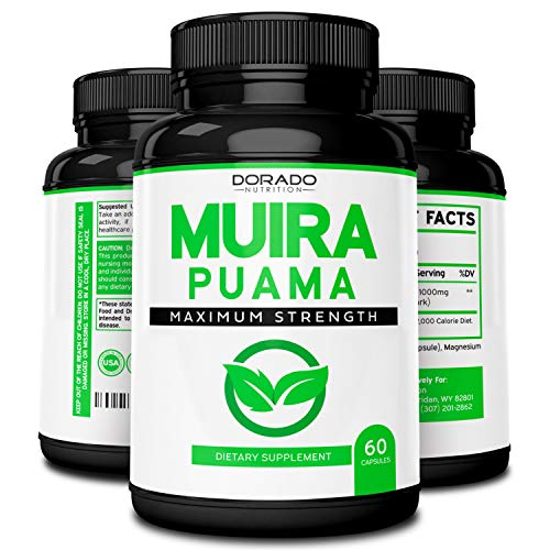 Muira Puama Root Extract 1000mg for Men and Women - Premium Capsules - 60 Count - Zero Fillers - Gluten Free & Non-GMO - USA Made - Quality Guarantee - Tested for Potency & Purity