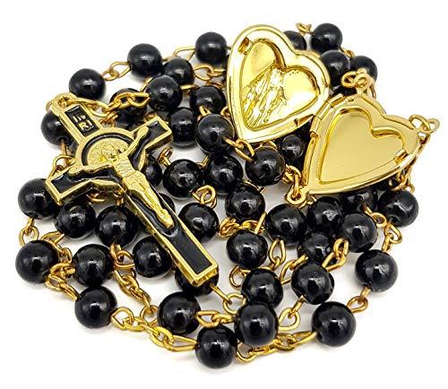Form Enamel Crystal Jewelry - Nazareth Store Black Beads Rosary Necklace Saint Benedict Cross & Heart Locket Medal in Velvet Bag