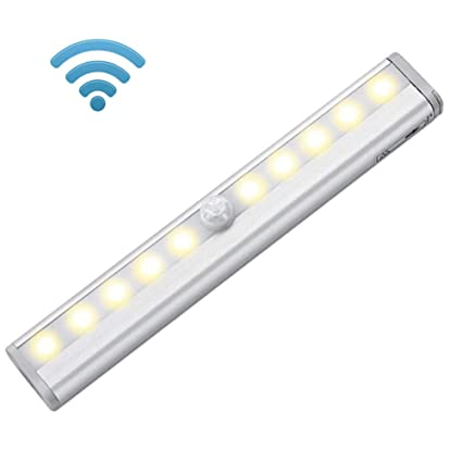Sensor de movimiento inalámbrico, luz nocturna LED con batería y tira magnética, iluminación para