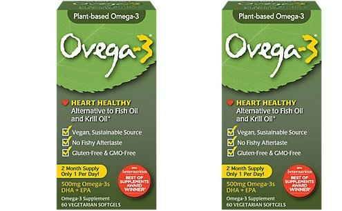 Ovega-3 Vegetarian Softgels, 500 mg, 60 Count (60 x 2) by Unknown