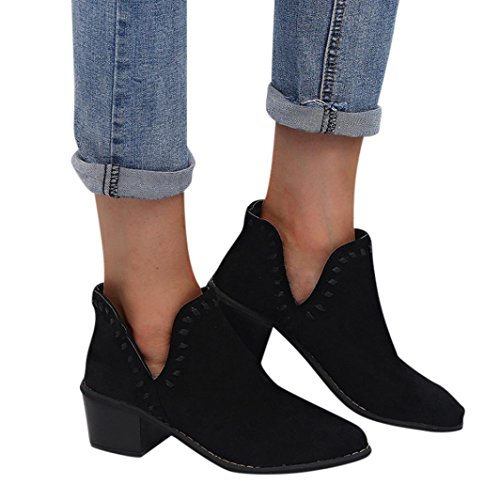 Women Ladies Autumn Shoes Ankle Solid Roman Martin Short Boots Single Shoes Black