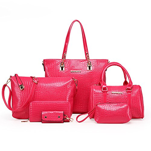 H&X 6 piece handbag set PU leather purse Female Messenger Bags for Crocodile pattern Shoulder Bags +handbag (rose red)