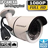Network ip Camera ventech with video and power over cat5 1080P POE (Power Over Ethernet ) Outdoor Home Security Surveillance Cam,Night Vision ir led IP66 Waterproof Stabler Connection Compared Wifi