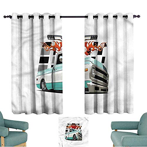 Lowrider Sliding Shorts - Agoza Indoor/Outdoor Curtains Truck Lowrider Pickup Vehicle Darkening Thermal Insulated Blackout W72x63L