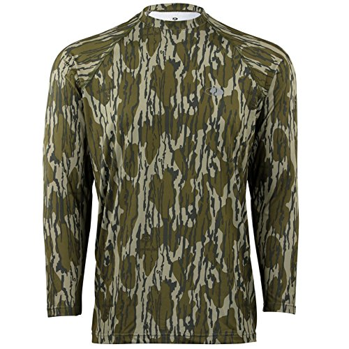 Mossy Oak Men's Camo Long Sleeve Performance Tech Tee Hunting Shirt, Original Bottomland, Large