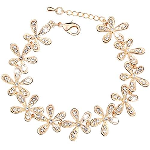 Crystal Daisy Bracelet (Gold) Daisy Gold Bracelets