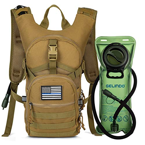 Gelindo Military Tactical Hydration Backpack with 2L Water Bladder Light Weight MOLLE Tactical Assault Pack for Hiking Biking Running Walking Climbing Outdoor Travel(Khaki) ()